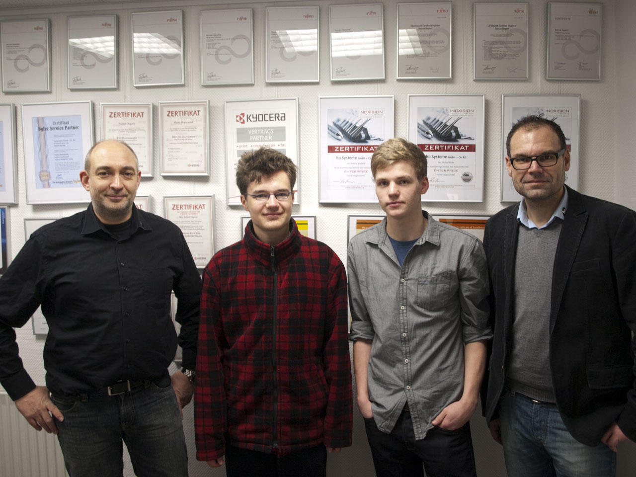 Peter Horvath, Ville Arminen, Jannick Sahrhage und Hermann Oberschelp