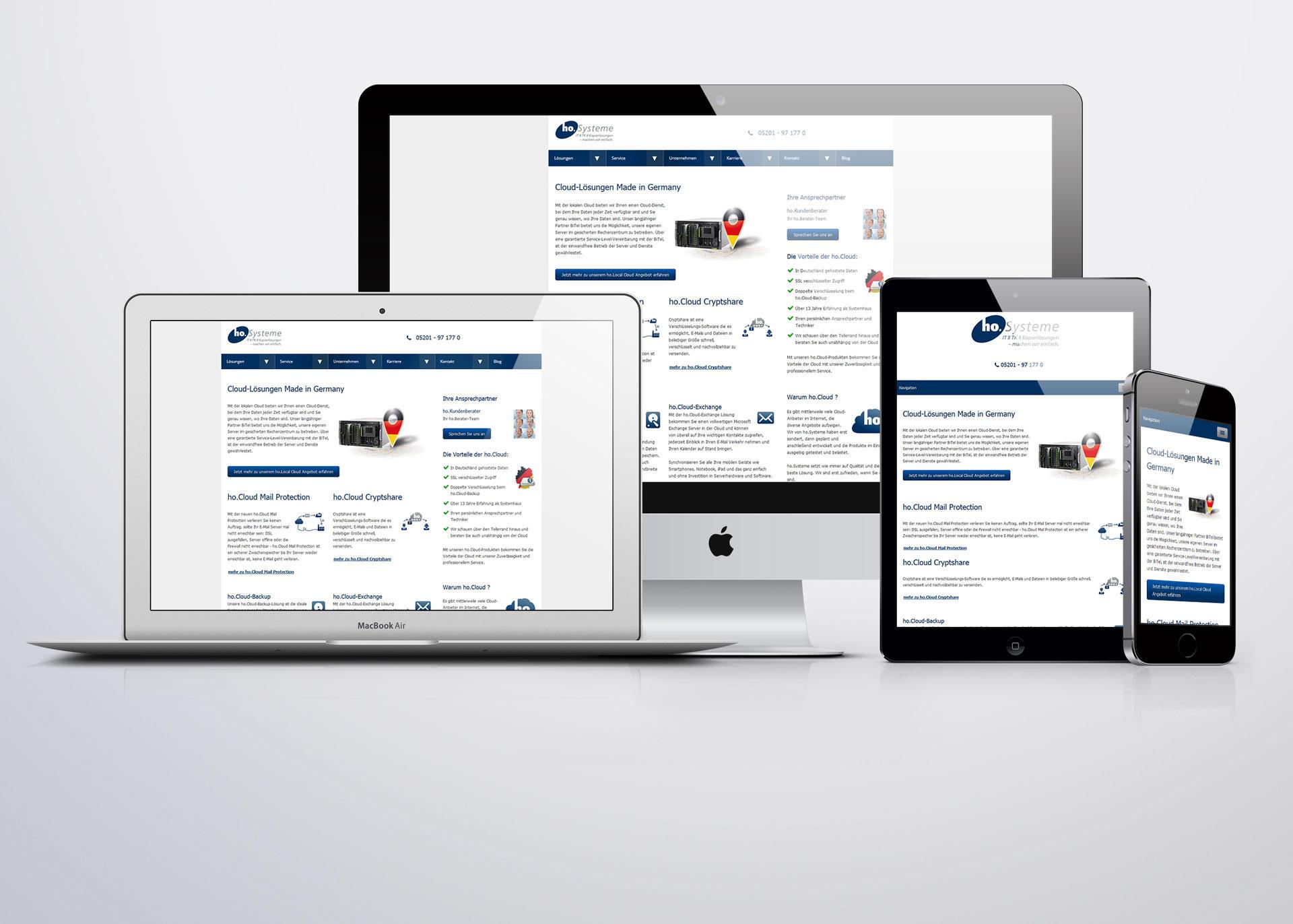 Responsive Webseite auf verschiedneen Endgeräten